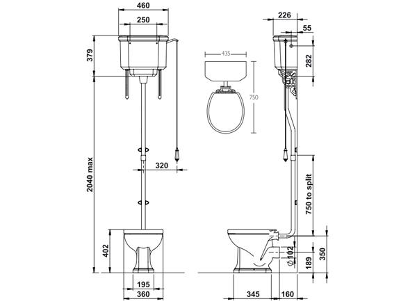 nostalgie wc becken mit hoch h ngendem sp lkasten. Black Bedroom Furniture Sets. Home Design Ideas