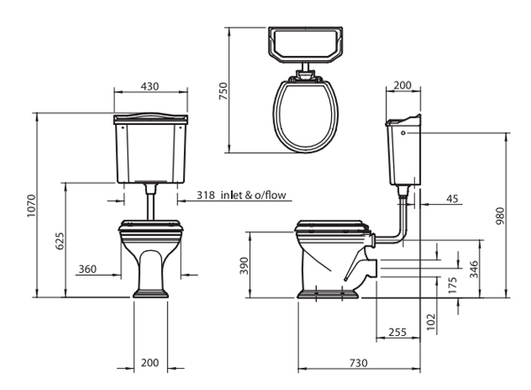 nostalgie wc becken mit h ngendem sp lkasten. Black Bedroom Furniture Sets. Home Design Ideas