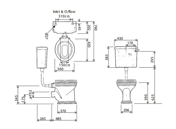 nostalgie wc becken mit h ngendem sp lkasten traditionelles wc nostalgisches wc becken. Black Bedroom Furniture Sets. Home Design Ideas
