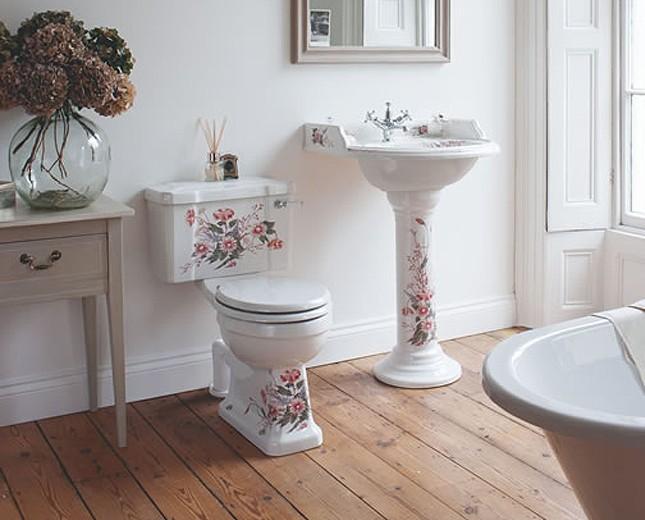 nostalgie waschtisch mit blumenmuster waschtisch mit floraler verzierung verzierter waschtisch. Black Bedroom Furniture Sets. Home Design Ideas