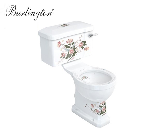 nostalgie wc becken mit blumenmuster wc mit floraler. Black Bedroom Furniture Sets. Home Design Ideas