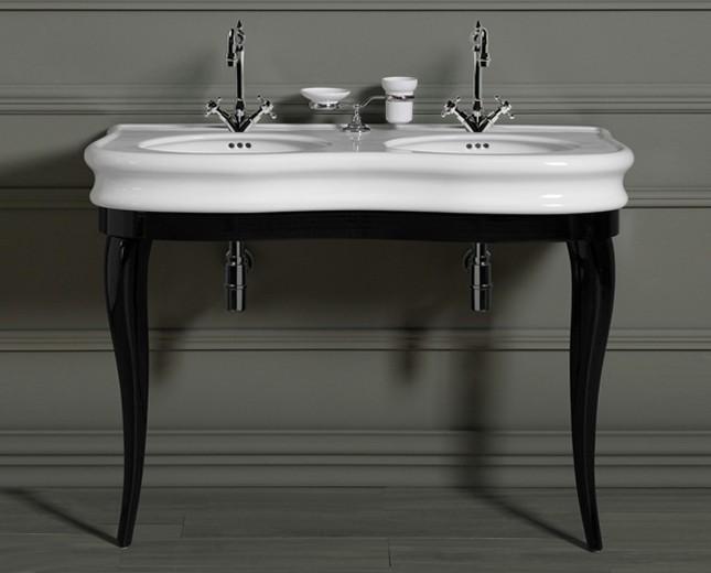 nostalgie keramik doppel waschtisch latium mit stanbeinen. Black Bedroom Furniture Sets. Home Design Ideas