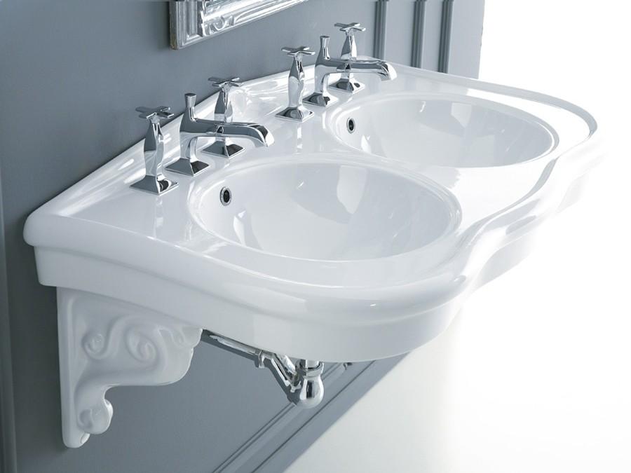 doppel-waschbecken, waschbecken, keramik, waschbecken, modern ... - Badtisch Doppelwaschbecken