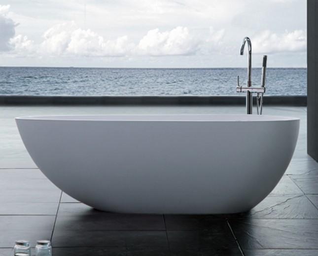 Freistehende Ei Form Design Badewanne aus Mineralguss Ovale Mini