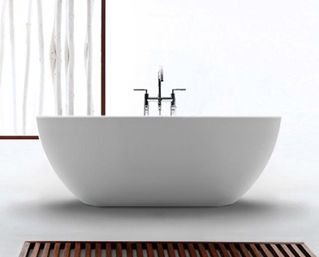 Freistehende Design Badewanne aus Mineralguss Pebble Mini