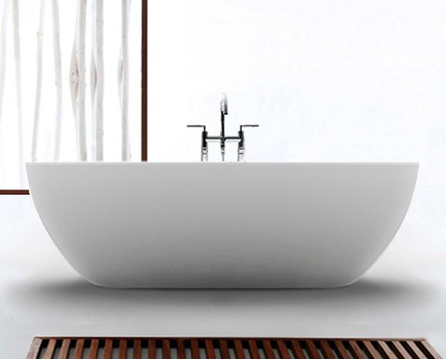 Freistehende Design Badewanne aus Mineralguss Pebble