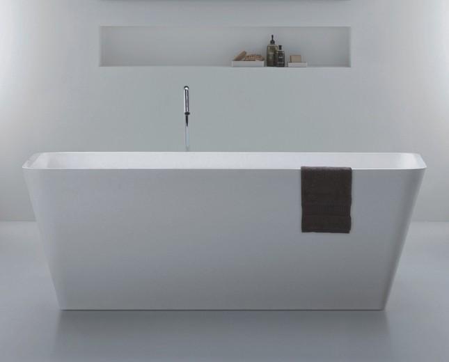 Freistehende Design Badewanne aus Mineralguss Quadrato Mini