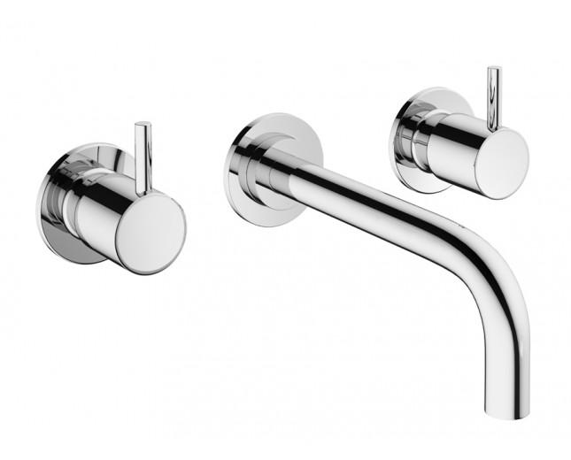 Design Dreiloch Waschtischarmatur zur Wandmontage Mike PRO