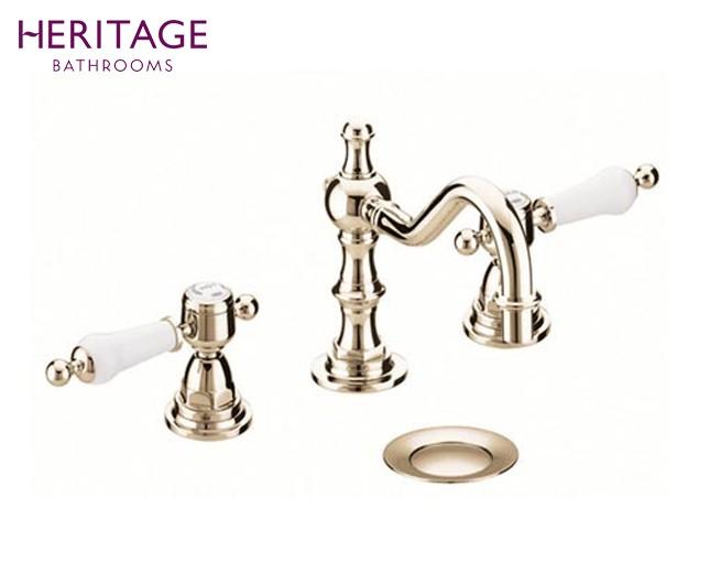 Nostalgie Dreiloch Waschtischarmatur Glastonbury Hochstehend Vintage Gold