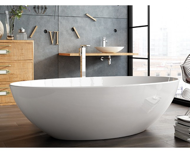 Freistehende Designer Badewanne aus Mineralguss Olympia