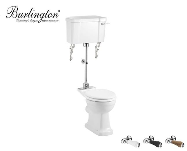 Retro Keramik WC-Becken Classic mit halb hoch hängendem Spülkasten
