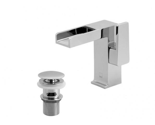 Design Wasserfall Waschtischarmatur Waterfall inkl. Push-System Ablaufsystem