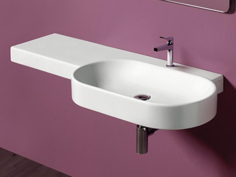 waschbecken wandh ngend flair simas design modern 1 lochbohrung waschtisch oval ablage. Black Bedroom Furniture Sets. Home Design Ideas