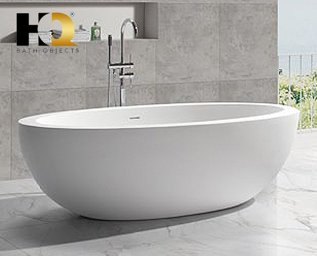 Freistehende Design Badewanne aus Mineralguss Lethbridge Classic ... | {Freistehende badewanne mineralguss 78}