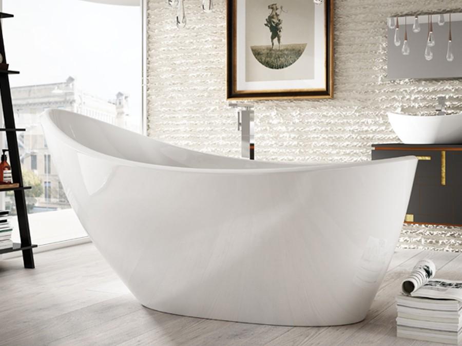 Freistehende Designer Badewanne aus Mineralguss Isa Classic & Stone