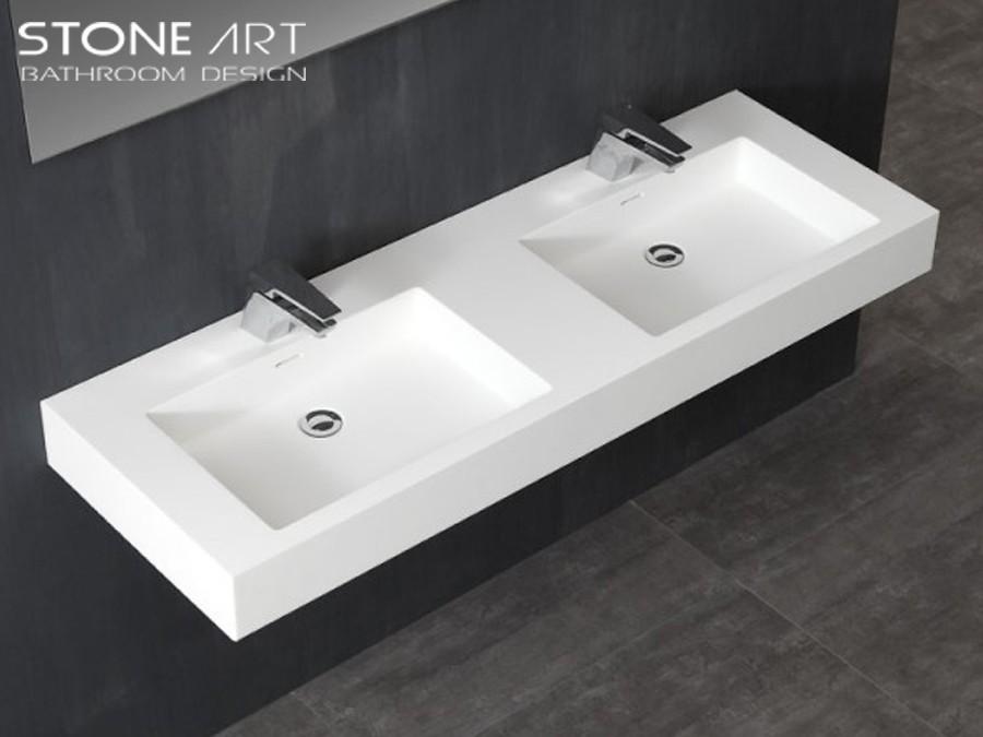 mineralguss doppel waschbecken zur wandmontage vegas classic stone. Black Bedroom Furniture Sets. Home Design Ideas