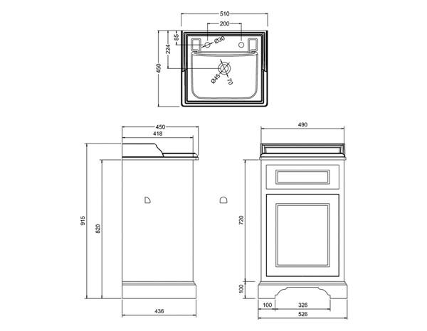 retro waschtisch mit unterbau edwardian 50 classic stone. Black Bedroom Furniture Sets. Home Design Ideas