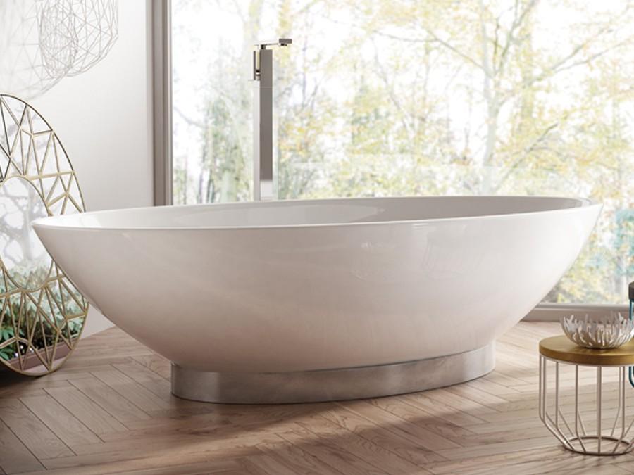 Freistehende Designer Badewanne aus Mineralguss Onis Classic & Stone