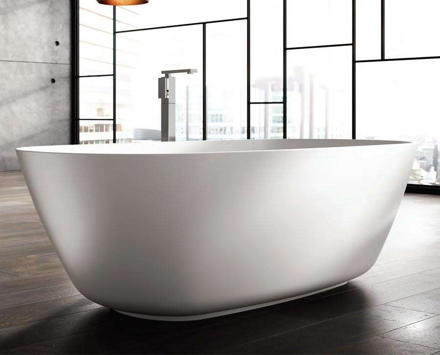 Freistehende Designer Badewanne aus Mineralguss Organic Téchni Large Classic & Stone