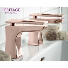 Design Zweiloch Waschtischarmatur Hemsby Rosé