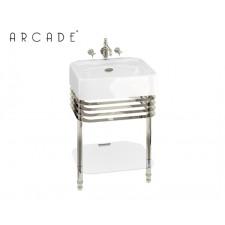 Nostalgie Keramik Waschtisch Arcade mit Edelstahlgestell Medium