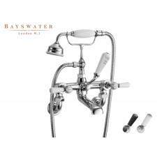 Retro Wannenarmatur Bayswater Crosshead zur Wandmontage 2 Wege