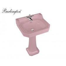 Retro Keramik Waschtisch Edwardian Medium mit Standsäule Confetti Pink