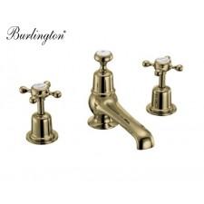 Retro Dreiloch Waschtischarmatur Claremont Gold