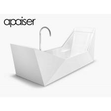 Freistehende Design Badewanne aus Mineralguss Marmor Sampan Double