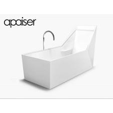 Freistehende Design Badewanne aus Mineralguss Marmor Sampan Single