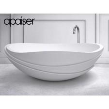 Freistehende Design Badewanne aus Mineralguss Marmor Serenity Round