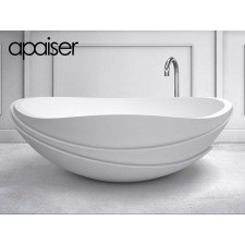 Freistehende Design Badewanne aus Mineralguss Marmor Serenity Oval