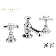 Retro Dreiloch Waschtischarmatur Bayswater Crosshead