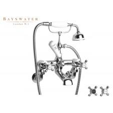 Retro Wannenarmatur Bayswater Crosshead zur Wandmontage