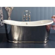 Freistehende Gusseisen Badewanne Rochester Large Stahl poliert