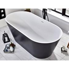 Freistehende Design Badewanne aus Mineralguss Graphite Stone