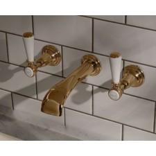 Nostalgie Dreiloch Waschtischarmatur Goddard zur Wandmontage Brass