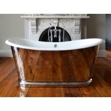 Freistehende Gusseisen Badewanne Rochester Stahl poliert