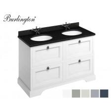 Retro Waschtisch mit Unterschrank Minerva 130 Drawer Carrara Black