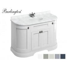 Retro Waschtisch mit Unterschrank Minerva 134 Curved Carrara White