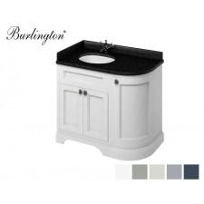 Retro Waschtisch mit Unterschrank Minerva 100 Curved Left Carrara Black