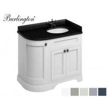 Retro Waschtisch mit Unterschrank Minerva 100 Curved Right Carrara Black