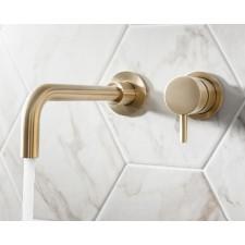 Design 2-Loch Waschtischarmatur zur Wandmontage Mike PRO Brass