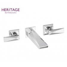 Design Dreiloch Waschtischarmatur Hemsby zur Wandmontage