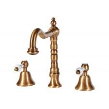 Nostalgie 3-Loch Waschtischarmatur Holoway Old Brass Hochstehend