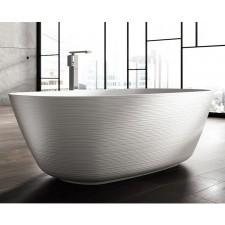 Freistehende Designer Badewanne aus Mineralguss Organic Structured Large