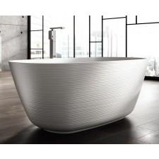 Freistehende Designer Badewanne aus Mineralguss Organic Structured