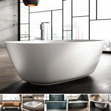 Freistehende Designer Badewanne aus Mineralguss Organic Téchni Large