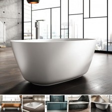 Freistehende Designer Badewanne aus Mineralguss Organic Téchni