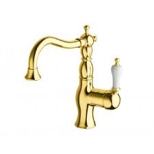 Nostalgie Einloch Waschtischarmatur Caesar Gold